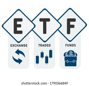 ETF - Exchange Traded Funds. business concept background. vector illustration concept with keywords and icons. lettering illustration with icons for web banner, flyer, landing page, presentation