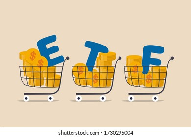 ETF, Exchange Traded Funds realtime mutual funds that tracking investment index trading in stock market concept, shopping carts or trolley full of Dollar money coins with alphabet combine the word ETF