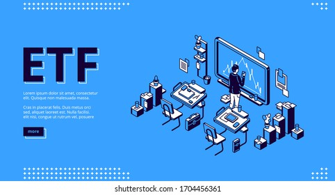 Etf isometric landing page, exchange traded fund concept, businessman stand at blackboard in office or classroom watching stock market investment financial graph using smartphone 3d vector web banner