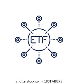 ETF line icon, exchange traded funds