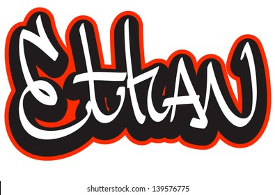 Ethan graffiti font style name. Hip-hop design template for t-shirt, sticker or badge