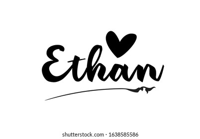 Ethan name text word with love heart hand written for logo typography design template. Can be used for a business logotype