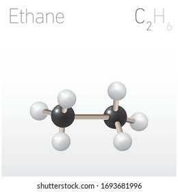 Ethane C2H6 Structural Chemical Formula and Molecule Model. Chemistry Education Vector Illustration