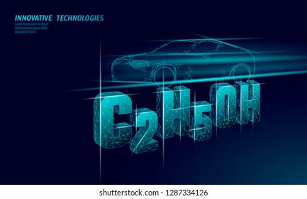 Ethanol formula biofuel car. Ecology science C2H5OH chemistry biotechnology eco concept. Renewable biorefinery organic gas 3D render polygonal innovation technology vector illustration