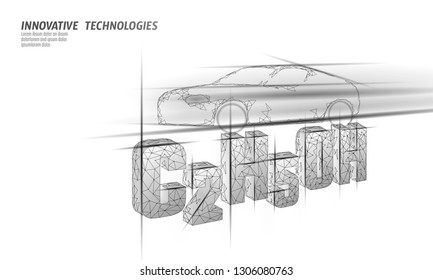 Ethanol formula biofuel car. Ecology science C2H5OH chemistry biotechnology eco concept. 3D render polygonal innovation technology vector illustration