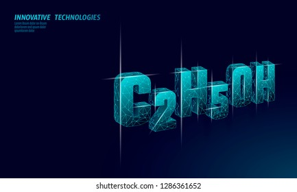 Ethanol molecular formula. Ecology science biofuel C2H5OH chemistry biotechnology eco concept. Renewable biorefinery organic gas 3D render polygonal innovation modern technology vector illustration