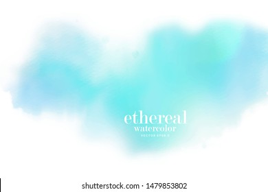 ethereal blue soft white clouds watercolor  background