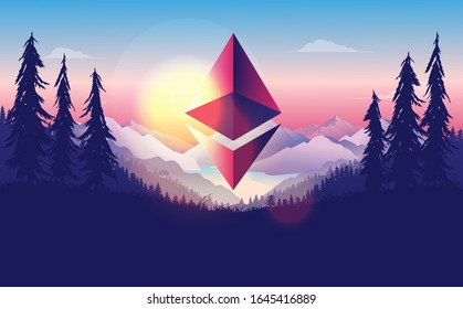 Ethereum 2.0 new dawn - the cryptocurrency symbol flying over landscape in front of sunrise. A new beginning, new morning, success and price growth concept. Vector illustration.