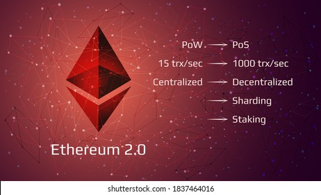 Ethereum 2.0 restart - cryptocurrency coin symbol on abstract polygonal red background. New direction after hard fork. Proof-of-Stake PoS consensus, sharding, staking. Vector EPS10.