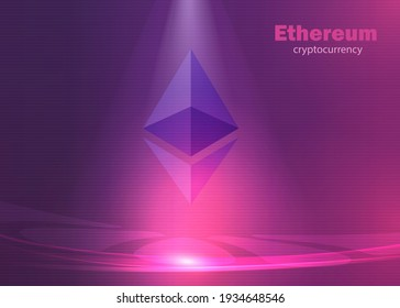 Ethereum background cryptocurrency, modern glowing bright lights violet and purple vector