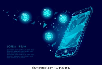 Ethereum Bitcoin Ripple coin digital cryptocurrency smartphone cell web online payment. Big data information exchange technology. Blue abstract web internet electronic payment vector illustration