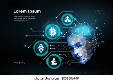 Ethereum Bitcoin Ripple coin digital cryptocurrency human brain artifitial intellegence. Big data information mining technology. Blue abstract web internet electronic payment vector illustration