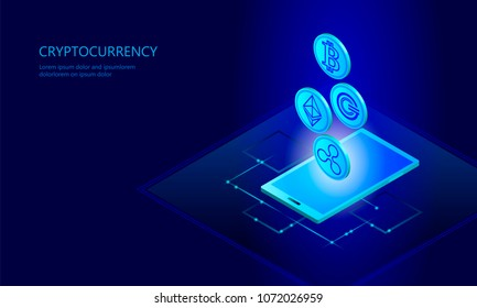 Ethereum Bitcoin Ripple coin digital cryptocurrency smartphone cell web online payment. Big data information exchange technology. Blue isometric web internet electronic payment vector illustration art