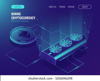 Ethereum Blockchain isometric, big data processing, server room rack, Crypto currency mining farm server. data center, mainframe Isometric vector ultraviolet