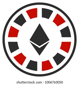 Ethereum Casino Roulette flat vector pictograph. An isolated icon on a white background.