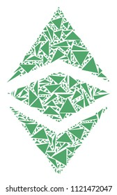 Ethereum classic mosaic of triangle elements in different sizes and shapes. Vector triangles are composed into Ethereum classic mosaic. Geometric abstract vector illustration.
