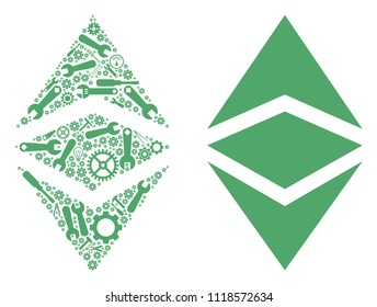 Ethereum classic mosaic of workshop tools. Vector Ethereum classic icon is composed of gearwheels, screwdrivers and other technical objects. Concept for technical job.