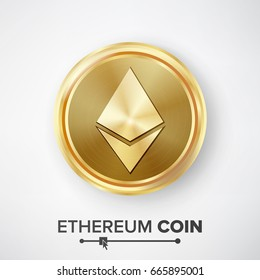 Ethereum Coin Gold Coin Vector. Realistic Crypto Currency Money And Finance Sign Illustration. Etherum Coin Digital Currency Counter Icon. Fintech Blockchain. Famous World Cryptography
