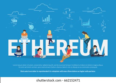 Ethereum concept vector illustration of young people using laptop and smartphone for online funding and making investment for ethereum and blockchain technology. Flat design of new electronic corrency