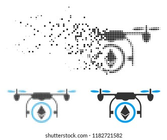 Ethereum copter icon in dispersed, pixelated halftone and original variants. Fragments are arranged into vector dissolving Ethereum copter symbol. Disintegration effect involves rectangle dots.