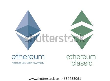 Ethereum Cripto Currency Chrystal Icon Blockchain Platform Logo Sign Classic Currencies Symbol