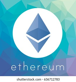 Ethereum crypto currency coin chrystal art icon logo for apps and websites. Ethereum blockchain platform sticker.