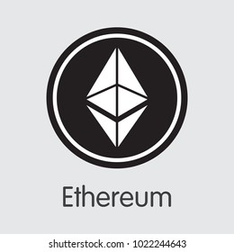 Ethereum - Cryptocurrency Concept. Vector Colored Logo of Ethereum. Digital Currency Simbol. Vector illustration of Ethereum Cryptocurrency Icon on Grey Background. Vector Trading sign: ETH