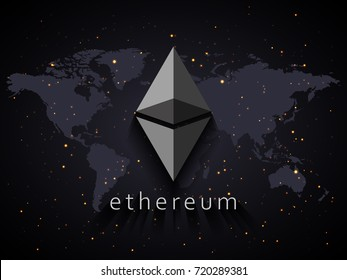 Ethereum currency illustration based on world map and space with stars background