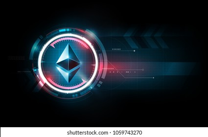 Ethereum digital currency, futuristic digital money, gold technology worldwide network concept, vector illustration