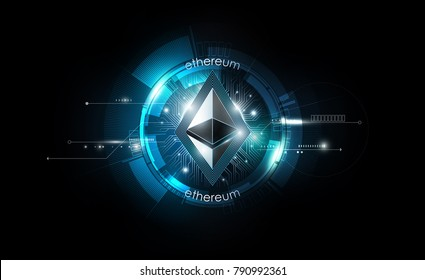 Ethereum digital currency, futuristic digital money, blue technology worldwide network concept, vector illustration