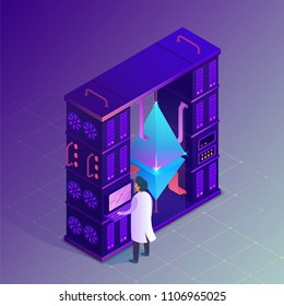 Ethereum farm concept. Isometric vector illustration.