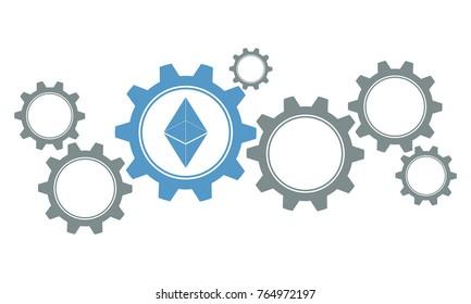 ethereum gears concept, flat vector illustration