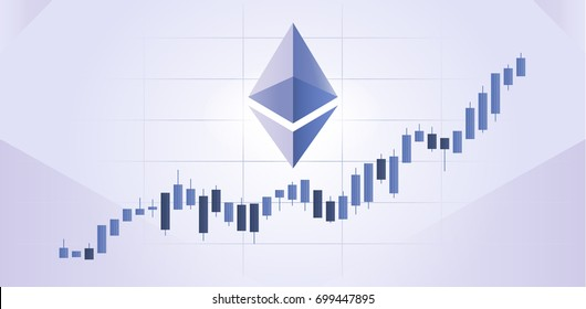 Ethereum Growth Graph - Candlestick Chart with Bullish Trend and Ether Logo Symbol on Purple Background
