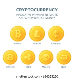 Ethereum, litecoin and bitcoin, ripple, dash, monero, bytecoin icons is a golden color. Cryptocurrency icons set isolated on white background. Vector illustration.