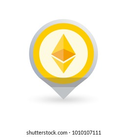 Ethereum logo. Cryptocurrency icon in the shape of map pointer or marker. Crypto coin logotype. Net banking sign. International money or currency. Vector illustration.