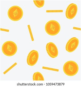 Ethereum Seamless 3D flat style yellow coins Pattern