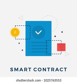 Ethereum Smart Contract Flat Vector Illustration