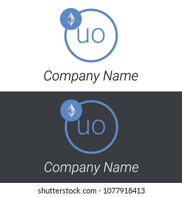 Ethereum UO letters business logo icon design template elements. Vector color sign.