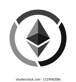 Ethereum vector icon in gray