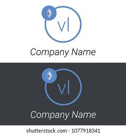 Ethereum VL letters business logo icon design template elements. Vector color sign.