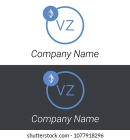 Ethereum VZ letters business logo icon design template elements. Vector color sign.