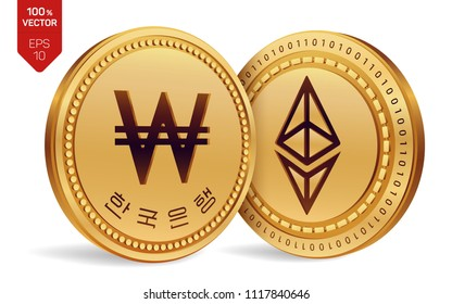 Ethereum. Won. 3D isometric Physical coins. Digital currency. Korea Won coin. Cryptocurrency. Golden coins with Ethereum and Won symbol isolated on white background. Vector illustration.