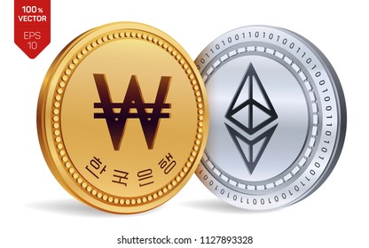 Ethereum. Won. 3D isometric Physical coins. Digital currency. Korea Won coin. Cryptocurrency. Golden and silver coins with Ethereum and Won symbol isolated on white background. Vector illustration.