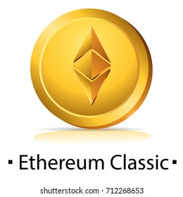 Etherium Classic. Gold coin with cryptocurrency logo. Vector illustration isolated on white background.