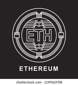 etherium coin Cryptocurrency  icon with black background