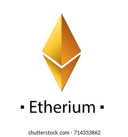 Etherium cryptocurrency golden icon. Vector illustration isolated on white background.
