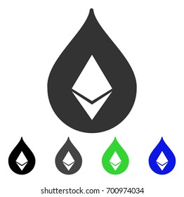 Etherium Drop flat vector pictogram. Colored etherium drop, gray, black, blue, green pictogram variants. Flat icon style for application design.