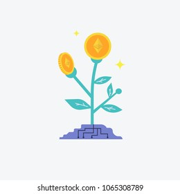 Etherium flower plant concept of virtual money for bitcoin and blockchain. Vector illustration Bitcoin business concept