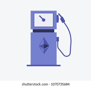 Etherium Gas Station symbol Vector illustration style is flat icon symbols in blue color
