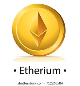 Etherium. Gold coin with cryptocurrency logo. Vector illustration isolated on white background.